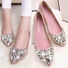 New Women Rhinestone Crystal Beaded Decoration Flat Heel Bottom pointy toe Shoes