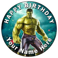 "HULK ACTION HERO PARTY - 7.5"" PERSONALISED EDIBLE ICING CAKE TOPPER"
