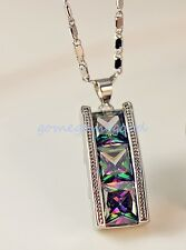 18K White Gold Filled - MYSTICAL Rainbow Square Luxe Cocktail Pendant Necklace