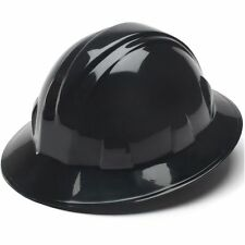 Pyramex Black Full Brim Hard Hat 4 Point Ratchet Suspension 21332