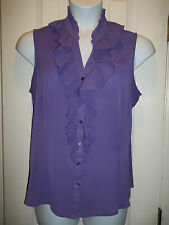 Relativity Plus Size Chiffon Ruffled sleeveless button down blouse top womens 2X