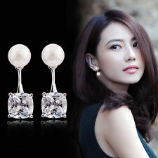 Fashion Women 925 Silver Plated Crystal Zircon Rhinestone Pearl Earrings Jewelry