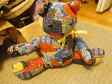 Handmade Vintage 80'S CALICO Patchwork Stitched  Bear Stuffed Toy