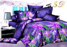 3D Violet Flower Home Duvet Cover Quilt Cover Pillowcase Bed Set Queen Size L