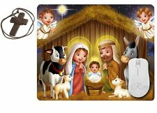 Lord Jesus Mouse Pad Baby Jesus Mother Mary Mousepad with Wooden Cross, MP-BJ