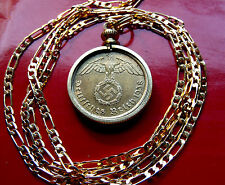"1937-1939 German 3rd Reich Brass Eagle Bezel Pendant on a 28"" Gold Filled Chain"