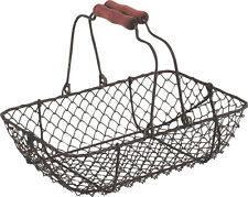 Vintage Wire Metal Basket Rectangular Rustic Brown Garden Trug Shabby Weddings