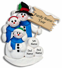SNOWMAN  Family of 3 Handmade Polymer Personalized Christmas Ornament  Deb & Co