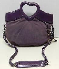 Bebe Cowhide Leather Heart Handle Purple Shoulder Bag Handbag Tote Purse