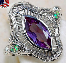 2CT Color Changing Alexandrite 925 Solid Sterling Silver Filigree Ring Sz 6