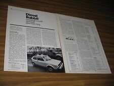 1977 Magazine Photo Article VW Volkswagen Diesel Rabbit