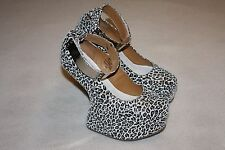 "Jeffrey Campbell ""Watch Cuff"" White Cheetah Leather Platform Shoe Women 8 M, EUC"