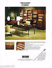 PUBLICITE ADVERTISING 055  1980  ORDO   ébéniste du meuble de bureau PRIVILEGE