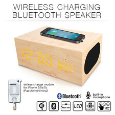 Wireless Qi Charger Transmitter Bluetooth NFC Speaker Clock for IPHONE & Samsung