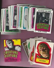 1980 Topps Creature Feature Mostly Mint Complete Set with Stickers and Wrapper