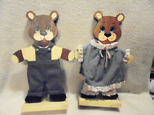 "HANDMADE SOLID WOOD MAMA & POPPA BEAR...APPROX 14 1/2"" TALL...SET OF TWO"