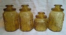 4 Vtg LE Smith Honey Amber Glass Atterbury Scroll Canisters Free Shipping