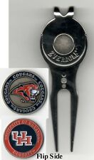 "Houston Cougars 1"" Golf Ball Marker 2 sided & Black Slick Divot Tool w/Clip NCAA"