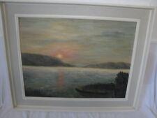 schönes Gemälde Sonnenuntergang am See signiert