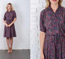 Vintage 70s Green + Pink Floral Garden Print Dress Shirt Dress Mod Full M