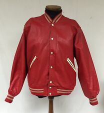 VINTAGE LEE TREVOR RED LEATHER VARSITY JACKET WITH PATCHES Size XL