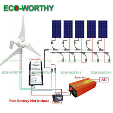 900W Hybrid Kit:400W Wind Turbine Generator & 5*100W Solar Panel &1000W Inverter
