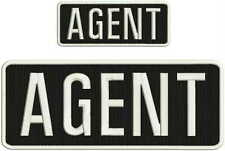 AGENT embroidery patches  4x10 and 2x5 hook on back white