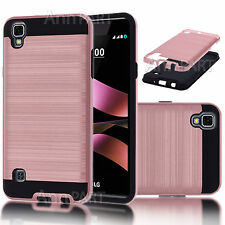 For LG X Style Tribute HD Hybrid Impact Armor Case Cover +Tempered Glass Screen