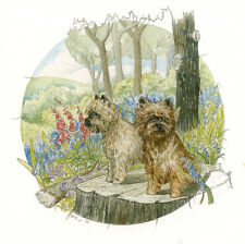 "CAIRN TERRIER SCOTTISH DOG FINE ART LIMITED EDITION PRINT - ""On the Tree Stump"""