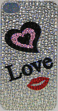 Iphone 4 4S Silver/Pink Bling Crystal Rhinestone Decal Sticker Vinyl Back Skin