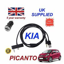 KIA Picanto For iPhone 5 5c 5s 3.5mm USB Aux Audio Cable & 1.0A Power Adapter Bl