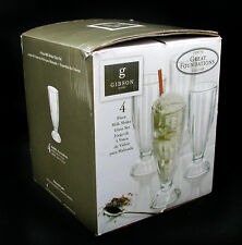 Gibson Home Great Foundations Collection 4 Piece Milk Shake Glass Set  12oz NEW!