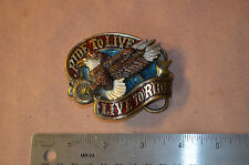 Vtg Motorcycle Metal Belt Buckle RIDE TO LIVE The Great American Co. 1982 #1609
