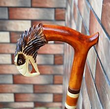 EAGLE Cane Walking Stick Wooden Handmade Wood Carving Exclusive Folk Art/