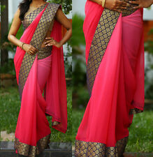 Exclusive Border Party Wear Saree Fabric Double Shaded Georgette Sari Blouse