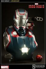 Sideshow Marvel Iron Man 3 Iron Patriot 1:1 Scale Life-Size Bust Statue In Stock