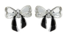 CLIP ON EARRINGS - silver bow with clear stones & black enamel - Malina