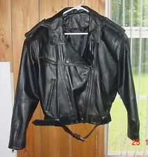 Cuir du Monde M black leather jacket motorcycle biker VGC Vintage TX Estate Sale