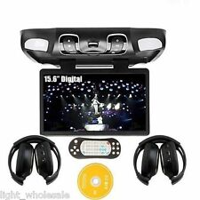 "Black 15.6"" Car Roof Mount Overhead Monitor DVD Player Games FM USB Headsets"