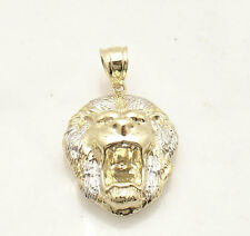 Mens Diamond Cut Lion Head Charm Pendant Real Solid 10K Yellow White Gold