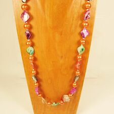 "30"" Orange Glass Pearl Shell Colorful Handmade Necklace FREE SHIPPING!!"