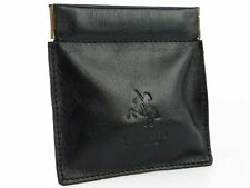 Visconti CP7 Black Quality Leather Squeeze Coin Purse Pouch Wallet Change Purse