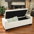 Contemporary Ivory Leather Storage Ottoman Bench