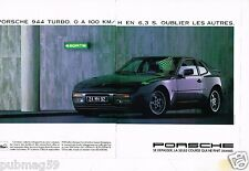 Publicité advertising 1985 (2 pages) Porsche 944 Turbo