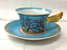 "VERSACE ""LA MER"" LOW TEACUP & SAUCER PORCELAIN NEW"