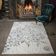 Textures Loxley White Grey Modern Handmade Sculptured Wool Rugs 160x230cm Large