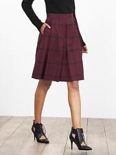 NWOT Banana Republic Check Pleated Full Skirt, Black Rose SIZE 10
