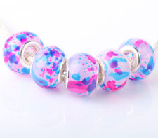 5pcs SILVER MURANO GLASS BEAD LAMPWORK fit European Charm Bracelet DIY WS334