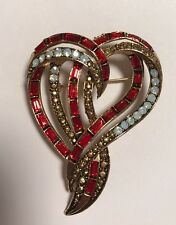 Stunning!! Vintage Estate Signed Weiss Double Heart Brooch Pin