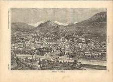 Stampa antica TRENTO veduta panoramica Trentino 1891 Old antique print